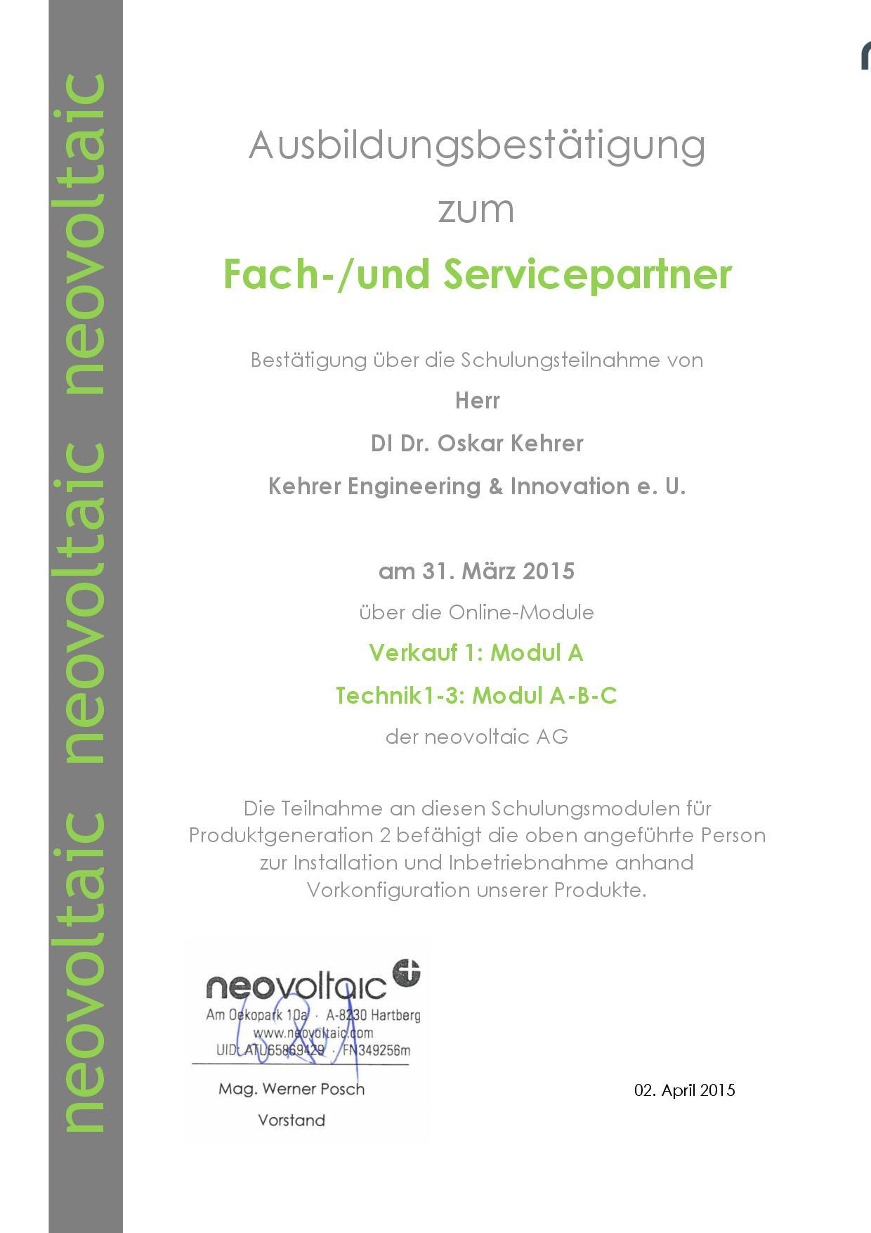 Zertifikat_neovoltaic_Oskar Kehrer
